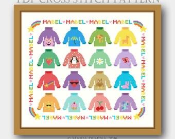 Mabel's Sweaters Parody Sampler (Gravity Falls) PDF cross stitch pattern / instant download