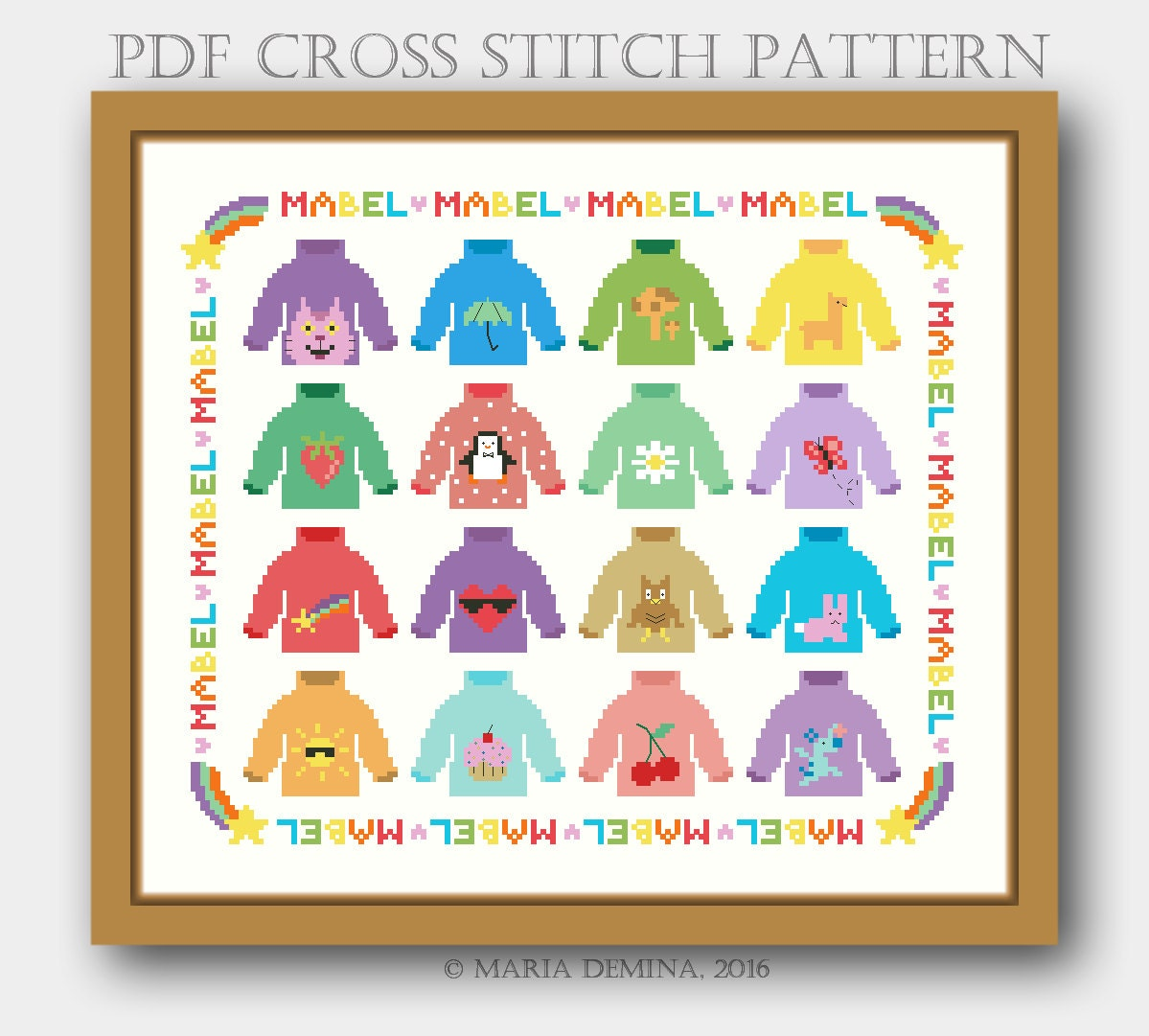 Mabels Sweaters Parody Sampler (Gravity Falls) PDF cross stitch pattern / instant download