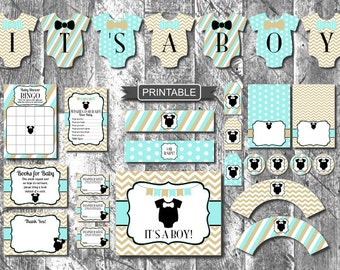 DIY Teal Gold Onsie Bowtie Baby Shower Decorations Package Printable PDFs Instant Download-It's A Boy