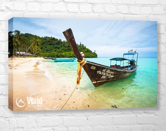 Thailand canvas art, long boat photo, Phi Phi Island, thailand art print, canvas wall art, koh phi phi canvas triptych, asia photography