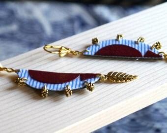 Fabric Earrings - Leaf Earrings - Fabric Leaf - Leaf Textile - Mosaic Earrings - Fabric Jewelry - Textile Earrings - Textile Art