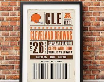 Cleveland Browns Retro Ticket Print