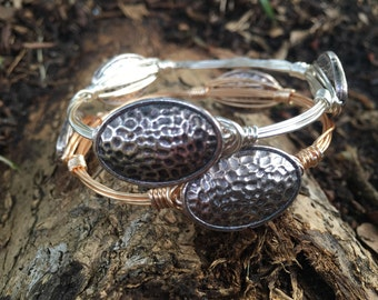 Silver Oval Wire Wrapped Bangle