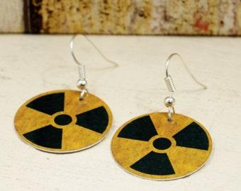 Radiation Warning Round Aluminium Earrings. Science Earrings. Radioactive Fallout Earrings