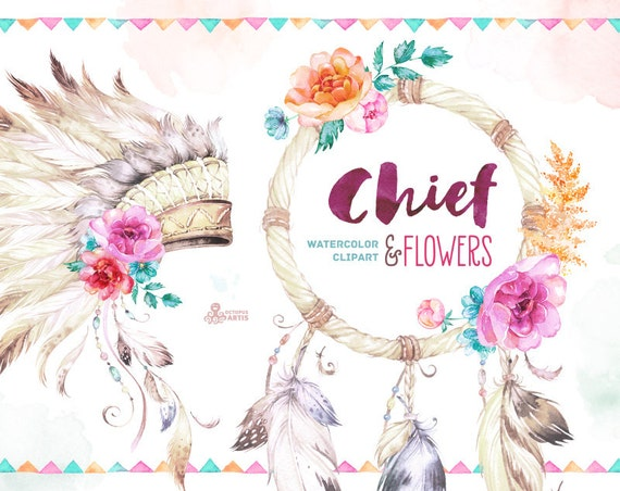 Chief And Flowers Native Warbonnet Dreamcatcher And