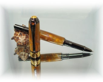Twilight Iridescent Alumilite Black Titanium and 24k Gold Art Deco Rollerball Pen