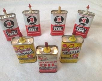 7 vintage 1960u0027s 1970u0027s mini 3 in 1 oil u0026 liquid wrench thumb oiler cans