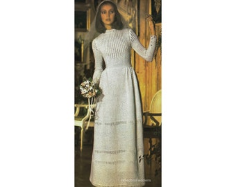 """Vintage Knitting Pattern Reproduction for Wedding Dress Bridal Gown with Cap Headpiece Bust 31.5 to 36"""" PDF Instant Digital Download 31-5"""