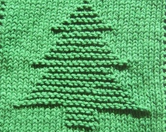 Christmas Tree Knit Dishcloth Pattern Only *PDF Digital Download*