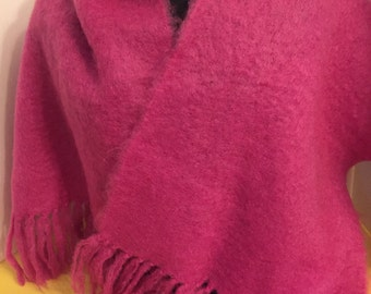 Vintage Hot Pink Mohair Scarf, Soft and Cozy, Large