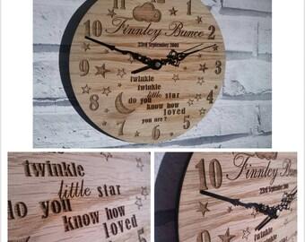 Personalised Engraved Clock Nursery or New baby - 00098