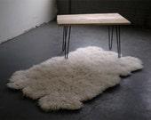 "4'x 6' Natural Sheepskin-Shape Flokati rug. Super thick  3.25""+ pile. 100% wool no synthetics! Soft wool backing-no skins!"