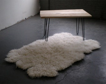 "4'x 6' Natural Sheepskin-Shape Flokati rug. Super thick  3.25""+ pile. 100% wool no synthetics! Soft wool backing-no skins!"