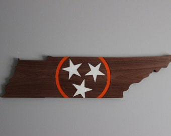 Carved Walnut TN Vol Sign - Orange and White - University of Tennessee Colors -  Vintage Feel
