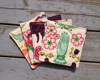 Coasters / Folk Art Fabric Coasters / Alexander Henry Coasters / Fabric Coasters / Folk Art Home Decor / Bird / Flower / Hand / Set of 4