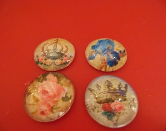 """1"""" Glass Cabochon with Vintage Images Set of 4    Lot B"""