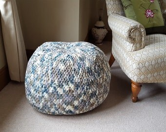 LUXURY Chenille POUFFE. Blues and Creams. Supersoft and cosy. Only one made.
