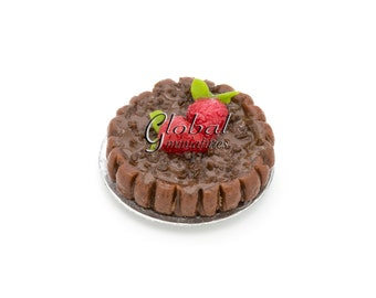 Dollhouse Miniatures Chocolate Round Tart with Strawberry Topping