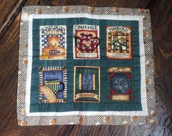 """Vintage Patchwork Placemat, Tray Cloth or Dolls Quilt 15.5"""" x 14"""" Teddy Bear Tea Theme"""