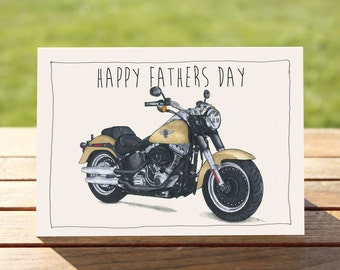 "Motorcycle Father's Day Card - Harley Davidson Fatboy | A6 - 6"" x 4""  / 103mm x 147mm  