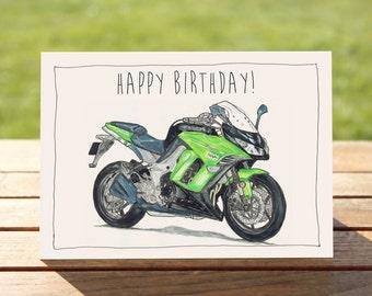 "Motorcycle Birthday Card - Green Ninja 1000   A6: 6"" x 4"" / 103mm x 147mm   Motorbike Gift Card, Motorcycle Gift Card"