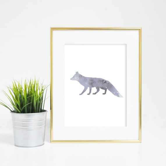 Fox Print, Printable Wall Art, Watercolor Print, Downloadable, Nursery Print, Gray Fox Wall Art, Minimalist Prints, Digital Prints