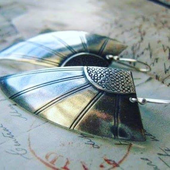 Sterling silver Art Deco Angel Wing Earrings