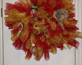 Decorated Christmas Mesh Wreath