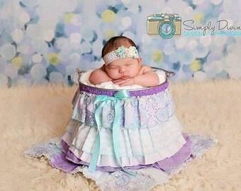 Ruffle Bucket Skirt Photography Prop Lavender/Aqua