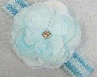 Light Blue Jeweled Rose Flower Newborn Headband Photo Prop