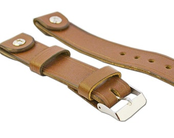 22 mm Brown Calf Leather Watch Band Wrist Watch Handmade strap with rivet fits Omega Seiko