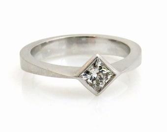 Princess cut diamond engagement rings, square engagement rings, 18k white gold diamond rings, Modern engagement ring, Solitaire diamond ring
