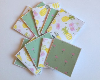 Flamingo cards, pineapple cards, mini card set of 10, gift cards, thank you cards, note cards
