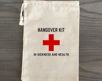 10 Bachelorette Party Favor, Hangover Kit, Survival Kit, Recovery Kit, Emergency Kit, Custom Bachelorette Bags - In Sickness and Health