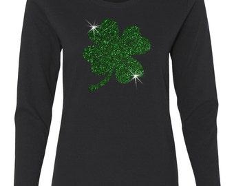 St. Patricks Day Irish Green Glitter Lucky Four Leaf Clover Women's Long Sleeve Crew Neck T - Shirt Top