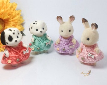 Calico Critters/ Sylvanian Families Crochet Clothes/ Outfit for Sister Made to Order #4001