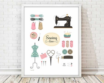 Sewing print, vintage sewing print, sewing wall decor, wall decor print, 8x10 printable , craft room wall art, craft room decor