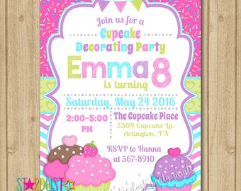 Cupcake Decorating Birthday Invitation, Cupcake Invitation, Cupcake Party, Cupcake Birthday Invitation