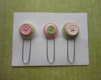 Button Paperclip Set, Pastel Green Pink Buttons, Paperclip Bookmark, Button Bookmark