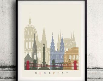 Budapest skyline poster - Fine Art Print Landmarks skyline Poster Gift Illustration Artistic Colorful Landmarks - SKU 1842