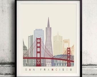 San Francisco skyline poster - Fine Art Print Landmarks skyline Poster Gift Illustration Artistic Colorful Landmarks - SKU 2102