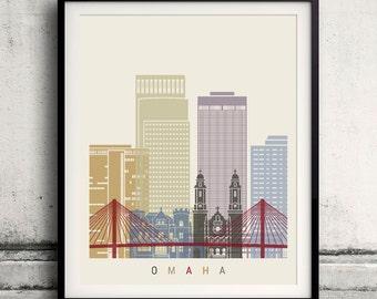 Omaha skyline poster - Fine Art Print Landmarks skyline Poster Gift Illustration Artistic Colorful Landmarks - SKU 2225