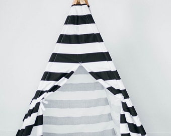 Kids Teepee play tent in Black and White stripes