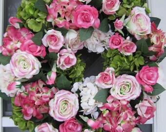 XL Handmade Pink/White/Green Hydrangeas w/Roses Floral Wreath Spring Wreath Summer Wreath Front Door Wreath