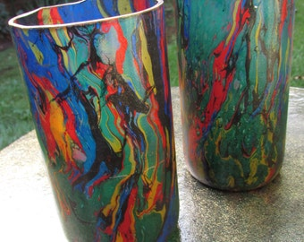 Stained Glass Upcycled Tumblers (pair)