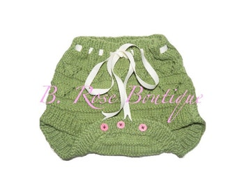 knitted diaper cover for girls with ribbon/ photo prop ANY COLOR