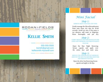 Rodan + Fields Business Cards, PRINTED CARDS ONLY Two Sided Business Card Mini Facial Combo