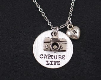 Capture Life necklace, sterling silver filled, hand stamped necklace with camera charm,personalized initial charm,photographer gift,for her