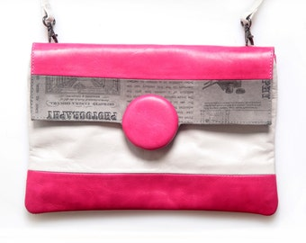 Pink Clutch Bag, Pink Leather Clutch, Pink Leather Bag, Small Bag, Genuine Leather Clutch Women Leather Bag, Small Purse, Designer Bag