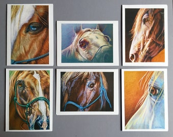 HORSE NOTECARDS. Set of 6 blank cards and envelopes